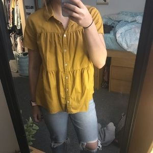 Orange/Yellow ruffle blouse